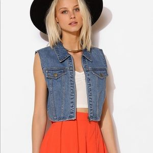 UO BDG Denim cropped vest with zipper